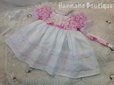 Hannahs Boutique 0-3 Month Baby Dress & Headband Set Or Reborn 20-24""
