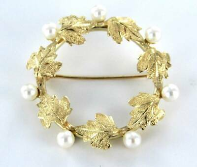 14Kt Solid Yellow Gold Pin Brooch Vintage Christmas Pearl Leaf Floral  990054638