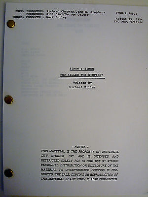 Simon & Simon Original Script Who Killed the Sixties 1984