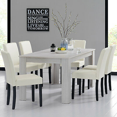 [en.casa] Dining Table 160X90 Oak White +6 Chairs Cream Dining Room Table NEW