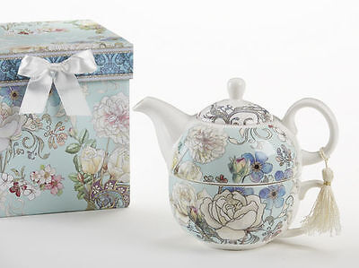 Delton Porcelain Tea for One Gift Set  Stacked Teapot & Cup  BLUE CAMELLIA