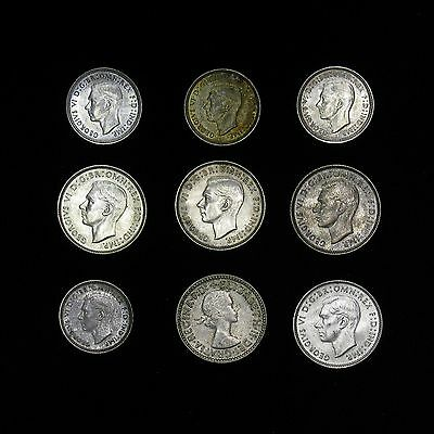 Lot of 9 Australia Three & Six Pence 1938-1955 silver coins many BU 3 & 6