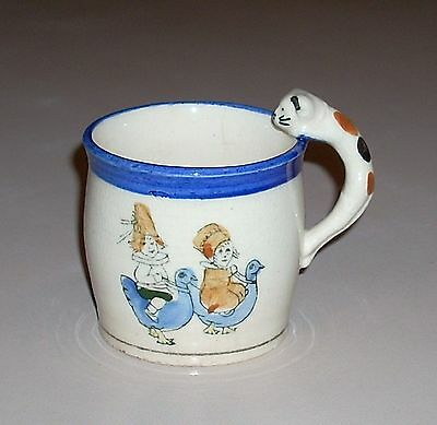 Vintage Mug Cup Children Riding Blue Birds with Calico Cat Handle