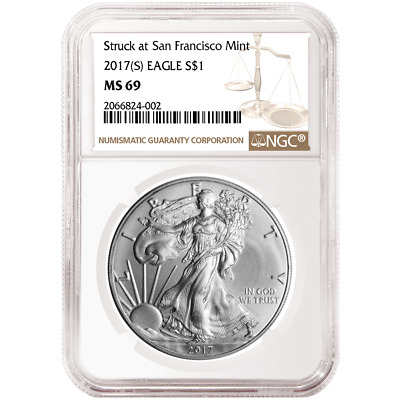 2017 (S) $1 American Silver Eagle NGC MS69 Brown Label