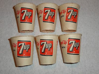 RARE SET OF 6 MINI - 1950's 7UP SAMPLE PAPER CUPS - LILY CUP COMPANY NEW YORK