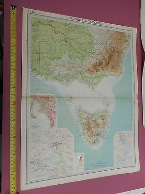 100% Original Victoria Tasmania  Map By  Bartholomew C1896 Vgc Original Colour