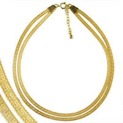 Ancient Greek Gold Overlay Greek Key Double Necklace