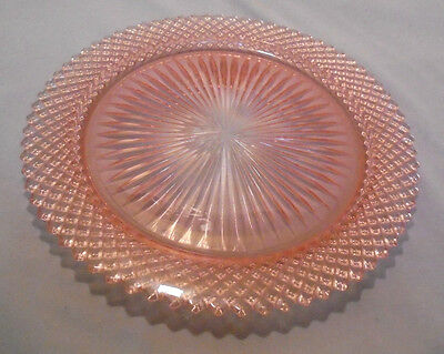 """Miss America By Anchor Hocking, Pink Dinner Plate, 10.25"""" Across Top Vintage"""