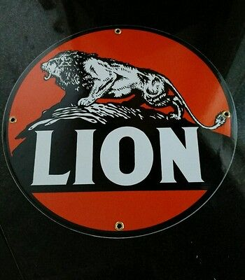 LION Gasoline Gas/Oil Porcelain Advertising Sign......~12""