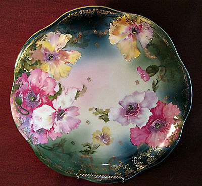 """Gorgeous ANTIQUE 12"""" CHARGER Hand Painted Z S & C BAVARIA Stunning LOTS OF GOLD"""