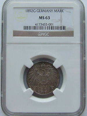 1892 G Germany German Empire Mark Ngc Ms 63 Extremely Rare