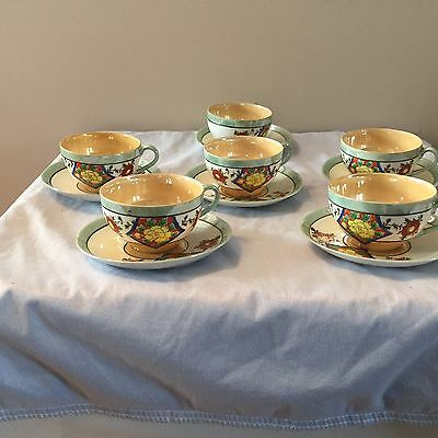 Vintage - Hand Painted Lusterware Tea Cups and Saucers - Set of 6-Made in Japan