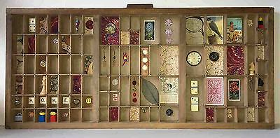 VINTAGE WOODEN PRINTERS TRAY INC artwork & collectables