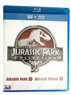 Jurassic Park 3D + 2D + Jurassic World 3D + 2D Collection 4 Blu-ray Box Set NEU