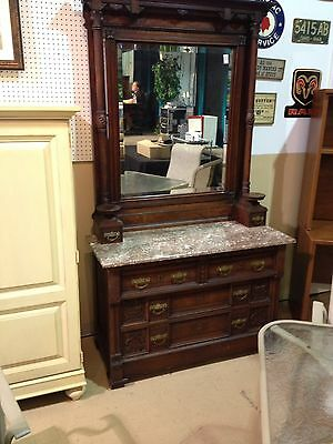 Victorian walnut Dresser Chest With Mirror And Marble Top Priced for quick Sale