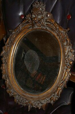 Quality 19th C walnut carved mirror with original glass black forest ??