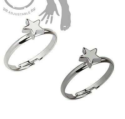 Petite Star Brass Toe Ring / Mid Ring With Hematite Or Rhodium Plating