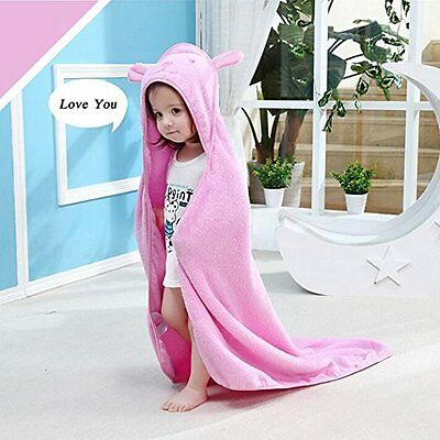 Girls Baby Hooded Towel with Bear Ear - Soft & Thick 100% cotton bath set infant