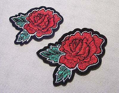 ÉCUSSON PATCH BRODÉ thermocollant - FEUILLE FLEUR ROSES ROUGES - au choix