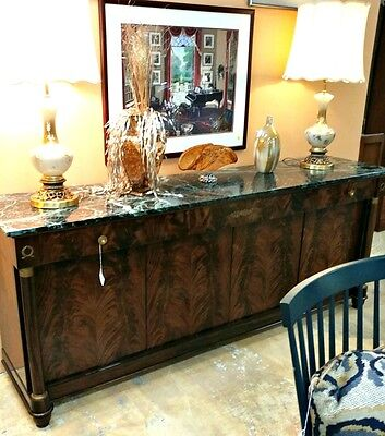 Empire Sideboard Flame Mahogany Gorgeous Green Marbled Top