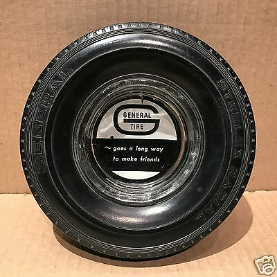 Vintage General Tire Advertising Ashtray - Glass Insert w/Rubber Tire #42