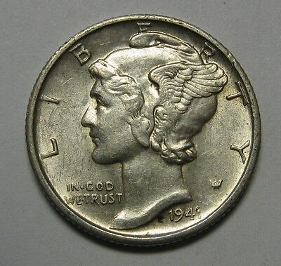 1941-S Mercury Head Silver Dime Grading in the AU Range Nice Original Coins