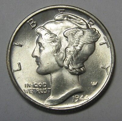 1944 Mercury Head Silver Dime Grading Choice Uncirculated Nice Original Coins