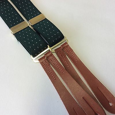 British made 1940's Style Green polka dot brown leather end braces 25mm y2501