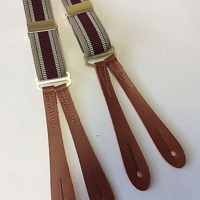 British made 1940's Style Red striped  brown leather end braces 25mm y2503