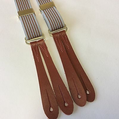 British made 1940's Style Red striped  brown leather end braces 25mm y2509
