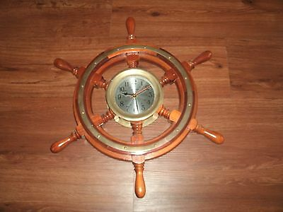 Vintage Ship Time Clock Solid Wood Ships Wheel & Solid Brass NAUTICAL