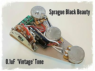 Fender Stratocaster Strat wiring upgrade kit - Sprague Black Beauty tone cap