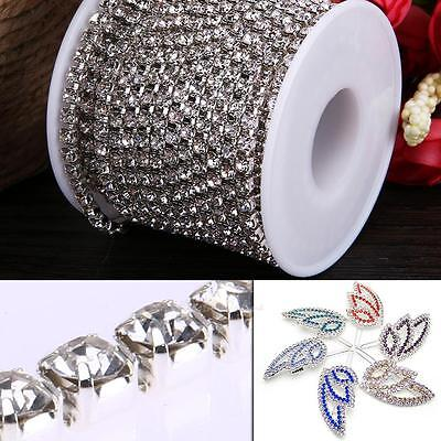 10 Yards/Roll Crystal Rhinestone Chain Silver Gold DIY Jewely Sewing Trims Craft