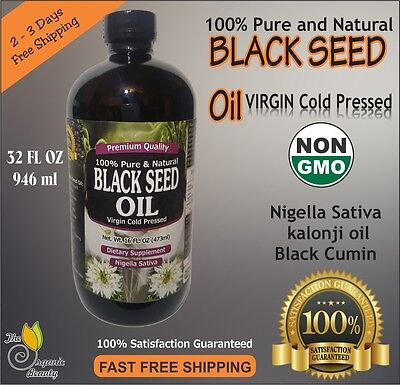 32 oz 100% Pure Black Seed Oil Cold Pressed Cumin Nigella Sativa non GMO 946 ml