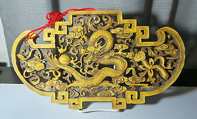 """15"""" Wide 8.5"""" High Wooden Sculpted Hangable Ornate Dragon Sculpture w Stand +Red"""