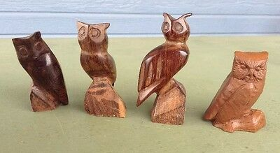 Hand Carved Owls Hard Dark Wood 3 Smooth and 1 Extra Owl Lot of 4