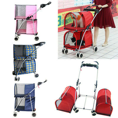 Pet Stroller Simple Dog Cat Double Deck Carrier Practical Buggy Breathable Cart