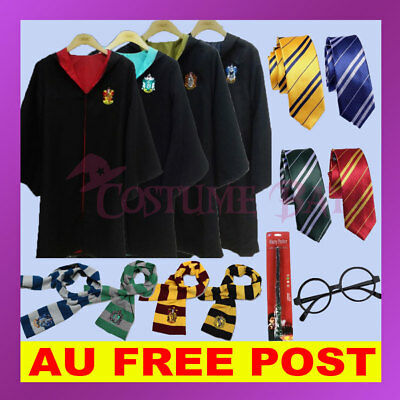 Harry Potter Gryffindor Slytherin Ravenclaw Hufflepuff Robe Cloak Scarf Tie Wand