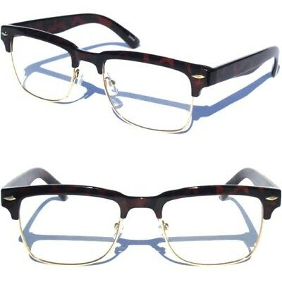 Half Frame Half Brow Retro Style Classic CLEAR LENS GLASSES Tortoise Shell