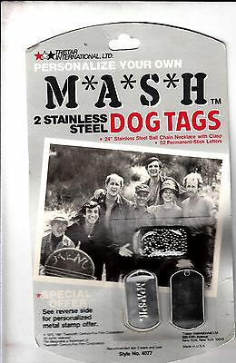 Vintage 1981 Tri-Star Int. M*A*S*H* MASH Dog Tags New In Display Unit NOS