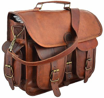 Men's Genuine Leather Messenger Bag Vintage Brown Shoulder Laptop Bag Briefcase