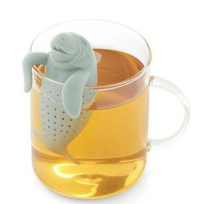 Creative Silicone Manatee Filter Tea Leaf Herbal Spice Infuser Spoon Hot