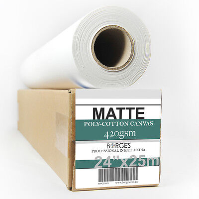 """24""""x25m INKJET PRINTING CANVAS ROLL, High quality matte poly-cotton 420gsm"""
