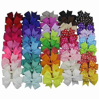 45PCS Grosgrain Ribbon Hair Bows Teen Kid Toddler Baby Girl Hair Clips Alligator
