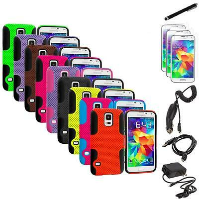 For Samsung Galaxy S5 Hybrid Rugged Mesh Case Cover + 7X Accessories
