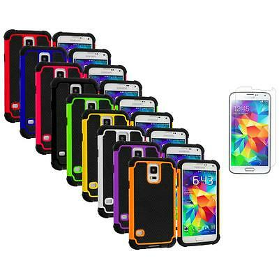 For Samsung Galaxy S5 Hybrid Shockproof Rugged Case Cover+Screen Protector