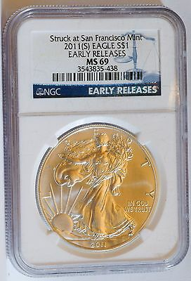 2011 (S) $1 American Silver Eagle NGC MS 69 Early Release Blue Label