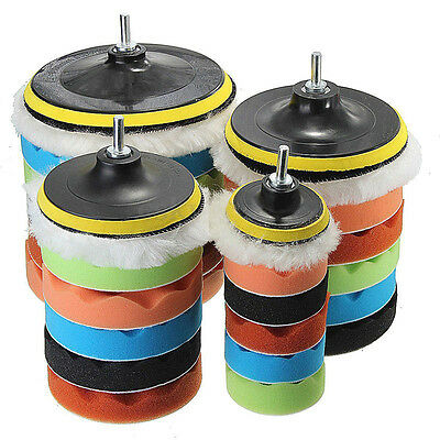"7Pcs 3/5/6/7"" Sponge Polishing Waxing Buffing Pads Kit Set Compound Auto Car New"