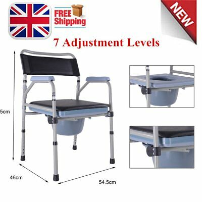 Height Adjustable Commode Chair Toilet Aid Seat With Removable Pail/padded seat
