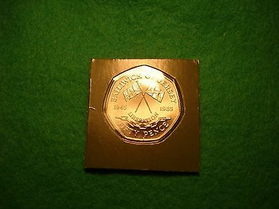 1985 jersey liberation large fifty 50 pence sealed br/uncirculated FREEPOST